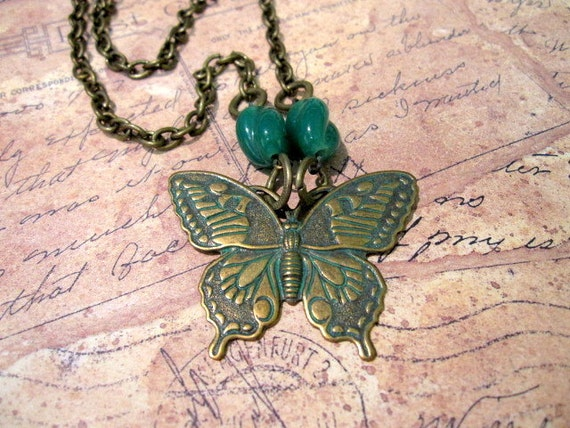 Butterfly Necklace, Verdigris Butterfly, Butterfly, Green, Vintage Inspired, Nature, Woodland Necklace, OOAK, One of a Kind