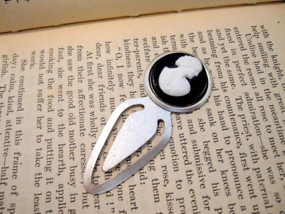 Black Cameo Bookmark, Bookmark, Cameo, Silver Bookmark, Book Marker, Black Cameo, Victorian Lady