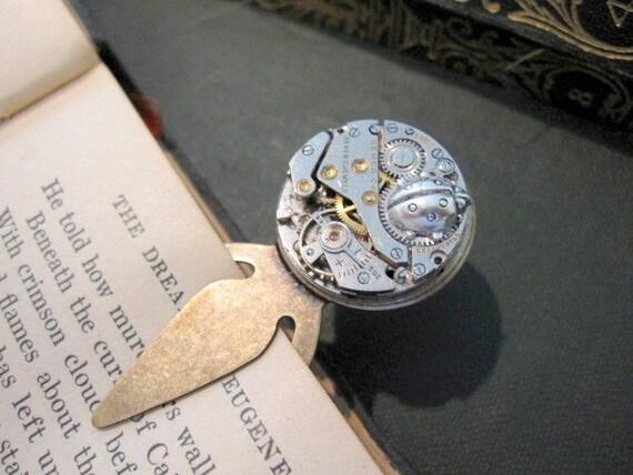 Bookmark,  Ladybug, Insect Bookmark, Bug Bookmark, Clockwork Bookmark, Steampunk, Vintage Movement, Book Mark, Book Marker, Ladybug, Reading