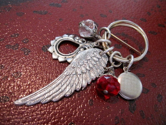 Steampunk Brooch, Wing Pin, Wing Brooch, Angel Wing, Locket, Charm Brooch, Pin, One of a Kind, OOAK