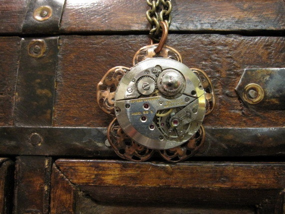 Upcycled Necklace, Clockworks Necklace, Steampunk Necklace, Women's Steampunk, Clockworks, Flower, Edwardian Necklace,  Copper, Silver