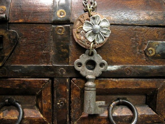 Steampunk Necklace, Clockworks Necklace, Key Necklace, Medieval, Upcycled, Rustic Key, Gothic Jewelry, Upcycled, Rustic, One of a Kind, OOAK