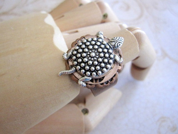 Steampunk  - Turtle Ring with Vintage Watch Part ooak