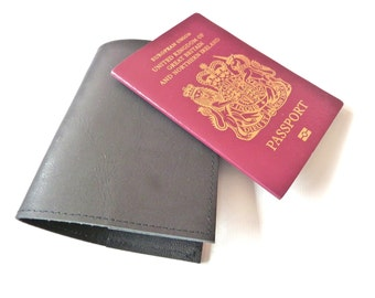 Leather Passport Holder, Black, Personalised, Engraved