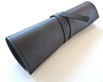 Leather Pencil Case Wrap, Black