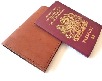 Leather Passport Holder, Distressed  Brown, Personalised, Engraved