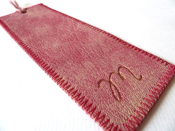 Leather Bookmark, Pink