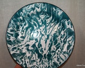 Graniteware swirl teal blue dinner plate vintage antique porcelain on sale now