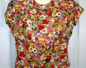 Sidney Heller 50s silk flowered blouse