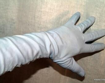 Vintage gloves powder blue  nylon mid arm length