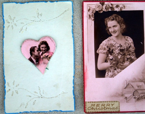 2 vintage Christmas cards wartime
