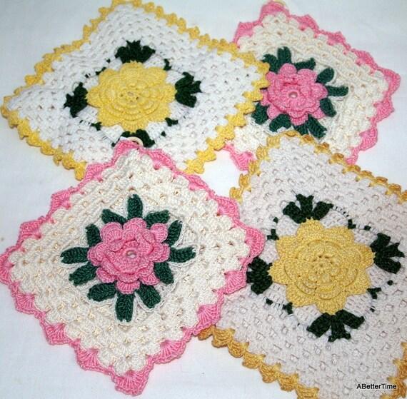 Crochet pot holders pink yellow flowers