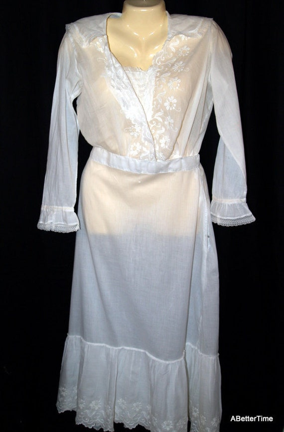 Victorian womens white summer Cotton voile dress On Sale Now