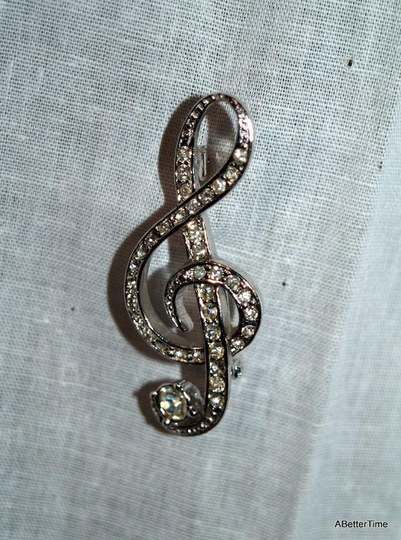 Musical clef note brooch rhinestones