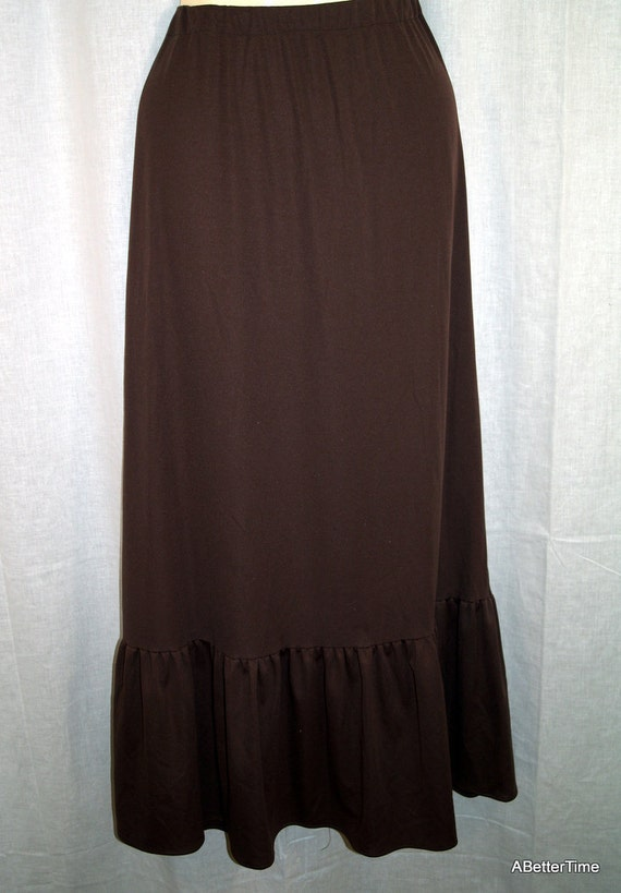Cocoa brown polyester skirt 70s