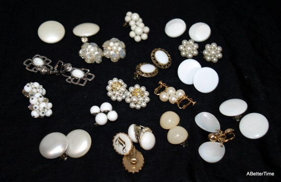 clip on earrings over 15 pairs shades of white