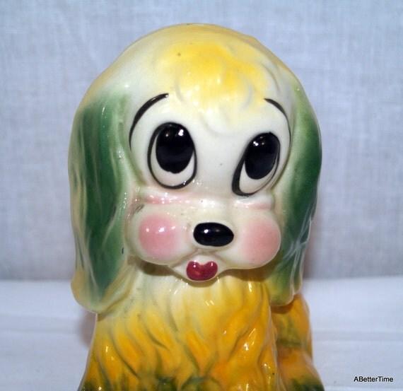 Cocker Spaniel Dog Puppy Planter vintage ceramic 1970's