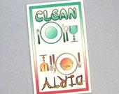 dishwasher sign, CLEAN versus DIRTY, magnet or velcro, decorated with dishes