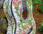 Mosaic Guitar ... Rock and Roll, Shabby Chic, Vintage Floral, Garden Vines