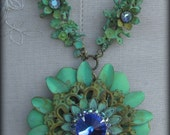 Reserved for Jenni - Clematis Flower Necklace ... Shabby Chic, Vintage, Gypsy Boho, French Inspired ... Verdigris Necklace
