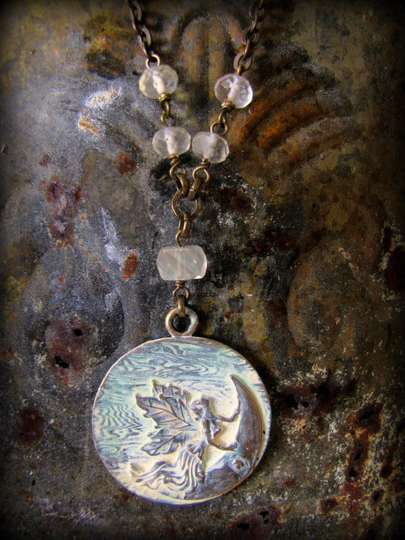 Crescent Moon Goddess:  Artemis  ... Vintage Mystical Inspired Necklace, Huntress of Souls, Protector of Women, Moonlight Arrows