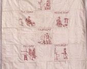 Vintage Quilt - Child's Quilt Redwork  c.1920 - Antique Quilt