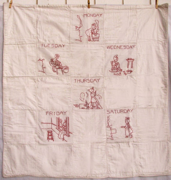 Vintage Quilt - Child's Quilt Redwork  c.1920 - Antique Quilt