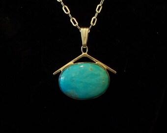 Kingman Turquoise A Frame Pendant