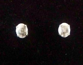 White Buffalo Small Stone Stud Earrings