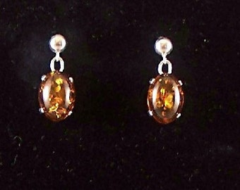 Red Baltic Amber Medium Stone Earrings