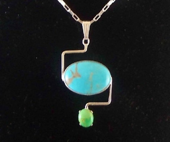 Double Stone Sterling Silver Pendant