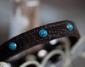 Brown Suede Leather Dog Collar, Leather Collar, Turquoise Dog Collar