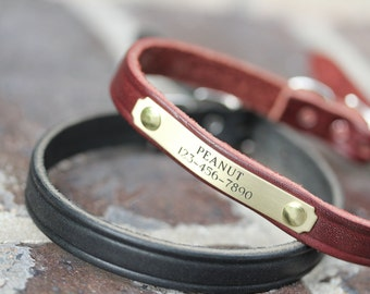 Small Dog Leather Collar, Black Leather Collar, Personalized Dog Collar