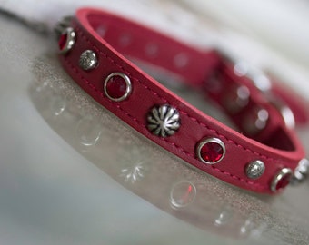 Red Leather Dog Collar // Jeweled Dog Collar // Dog Collar / /Crystal Dog Collar // Leather Dog Collar // Small Pet Collar // Leather Collar
