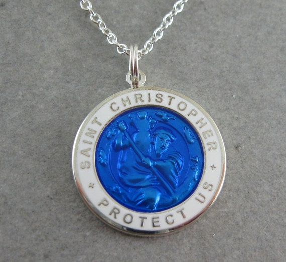 Large St Christopher Necklace Royal Blue W White Border