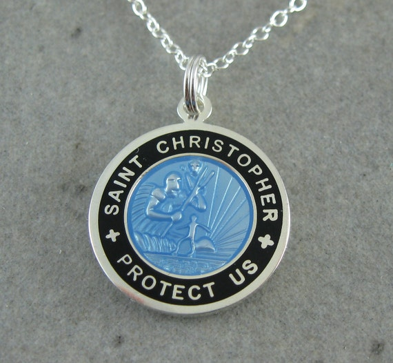 Medium St Christopher Necklace Baby Blue W Black By