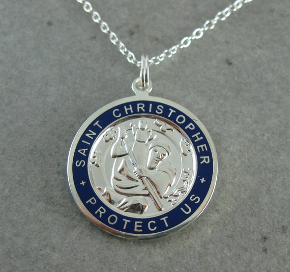 Large St. Christopher Necklace w/ Surfer- Silver w/ Navy border