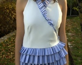 reserved for Laura - WHITE BLUE STRIPED VEST