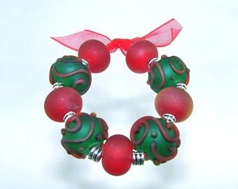 Holly Christmas Handmade Lampwork Beads