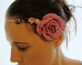 AURORA- narrow suede headband with pink fabric rose