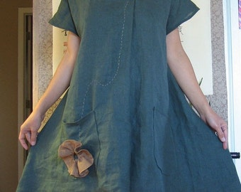 plus size Ginger hand pleated flowers linen dress with two pockets custom order listing