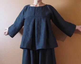 pure linen kimono dolly top custom order listing / super roomy / linen blouse / soft pleats / empire waist / plus size / petite / custom