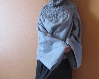 handmade to measure linen shirred turtle neck reversible top and dress