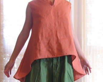 linen chi pao collar wavy blouse made to order