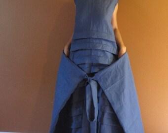 custom plus size  eco linen pleated flutter dress