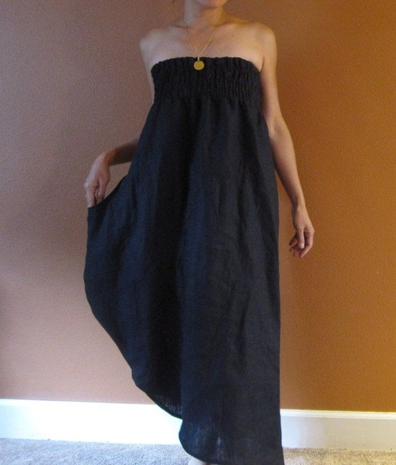 handmade to measure  linen shirred tulip dress one wing pocket