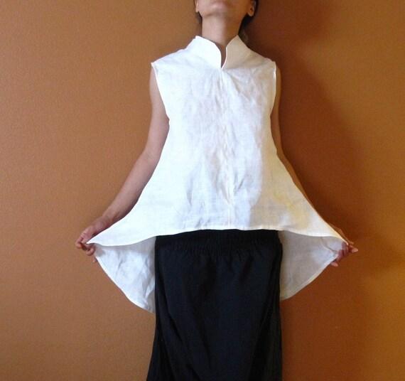 custom eco linen simplicity wavy top chi pao collar  custom order listing