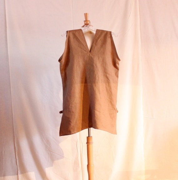 ready to ship  ginger linen sparrow sleeveless top with side slits