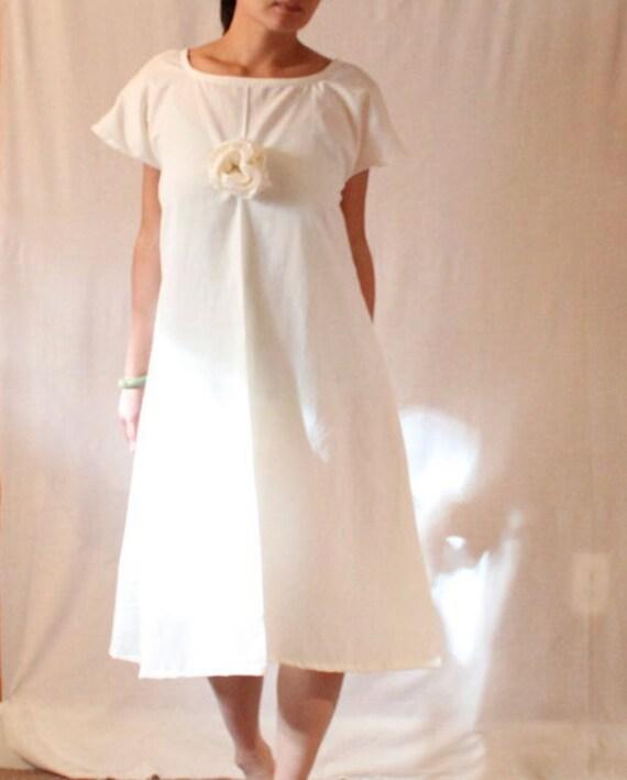 natural white cotton flower dress size M L ready to ship