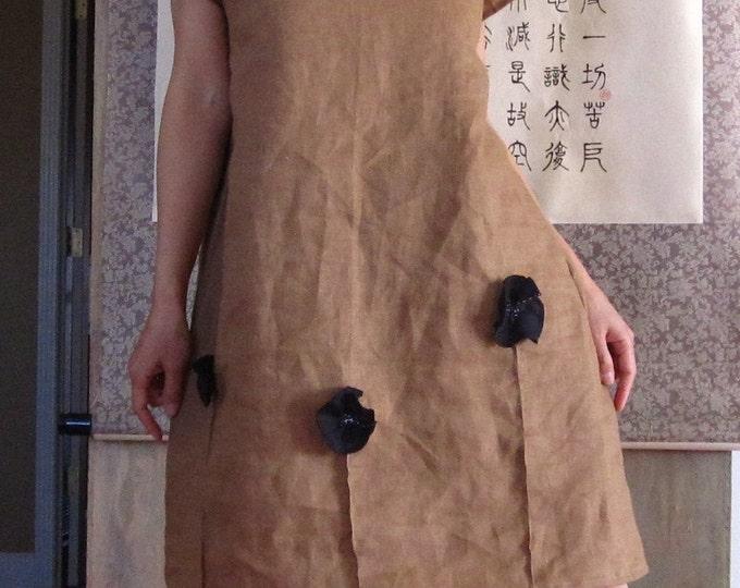 Black Poppy pleated flower ginger  linen dress custom make listing